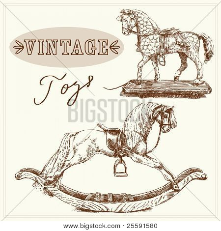 rocking horse-hand drawn vintage toys