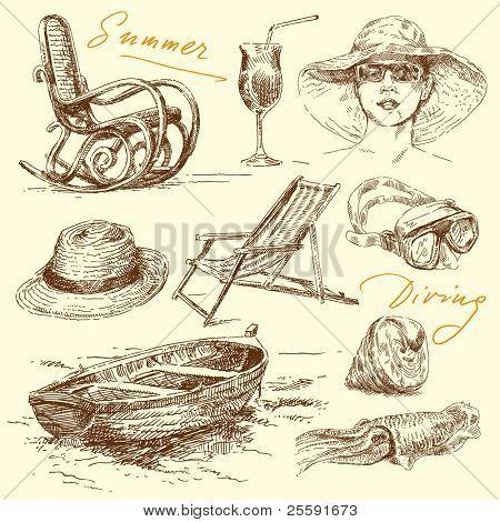 summer holiday - original hand drawn set