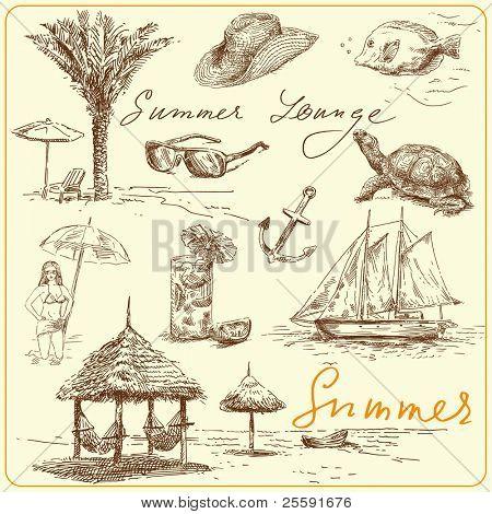 summer lounge - own hand drawn set