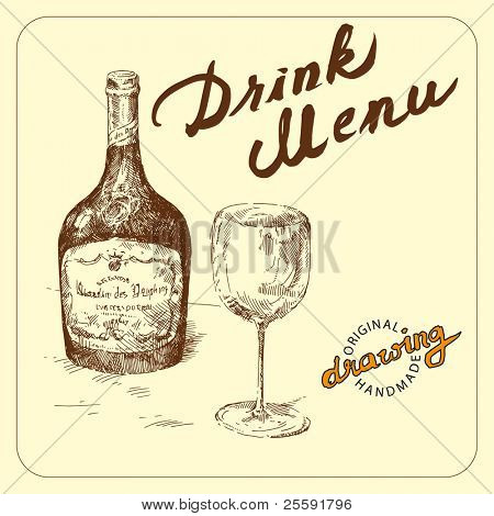 hand drawn bottle and wineglass