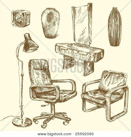 retro furniture-hand drawn set