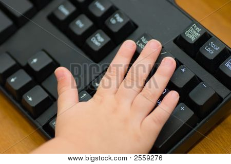 Toddler Hand On Keyboard