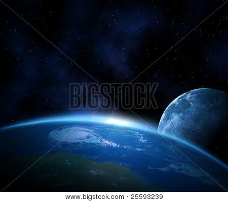 Planet earth with sunrise and moon in space