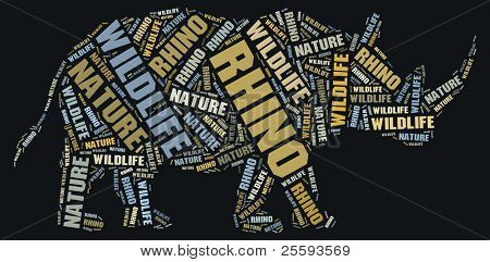Textcloud: silhouette of rhino
