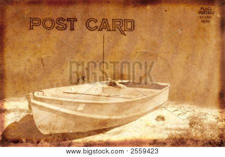Vintage Postcard With Boat