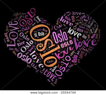 Wordcloud: love heart of city Oslo