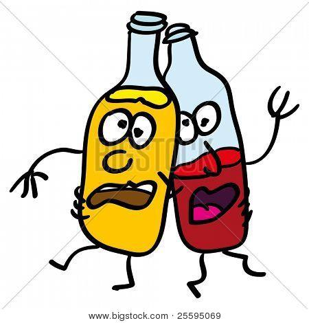 Doodle drunk bottles