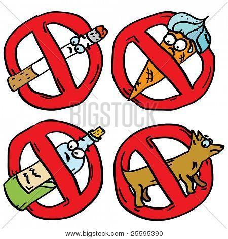 No smoking, no alcohol, no icecream, no pets signs set