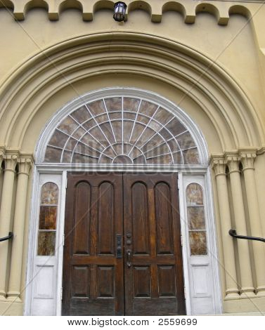 1856 Architectural Design Details On Church Entrance