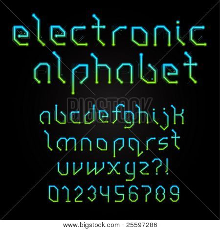 Colorful Electronic Alphabet With Numerals