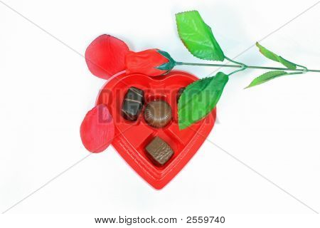 Rose Petals And Box Of Candy