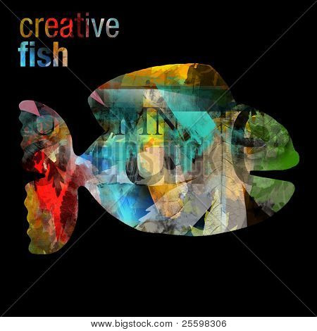 creative fish - artistic collage