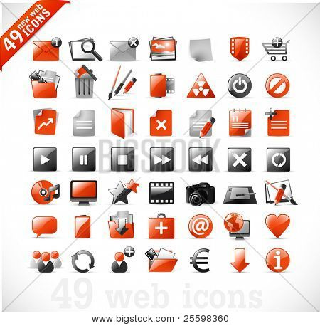 49 glossy web icons and design elements in RED and gray - set 2