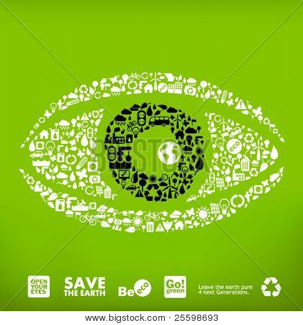 "eye made from little ecology icons - ""open your eyes"""