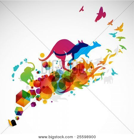 Ilustración abstracta moderna con salto de canguro, aves