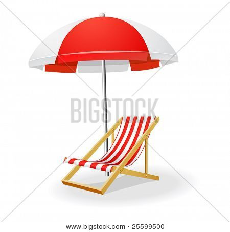 Chezlong and umbrella vector