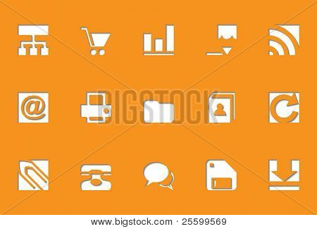 Internet icons | Die Cut series Icons look like are pressed into. Work well on any background. To use them on a white background, just give to the base of the icons 10 points of grey color.