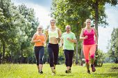 Family with personal Fitness Trainer jogging on a meadow poster