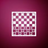 Board Game Of Checkers Icon Isolated On Purple Background. Ancient Intellectual Board Game. Chess Bo poster