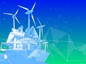 A modern house and windmills on a green background surrounded by digital networks: an illustration o poster
