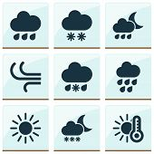 Climate Icons Set With Wind, Sleet, Temperature And Other Breeze Elements. Isolated Vector Illustrat poster