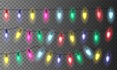 Set Of Three Chains Of Colorful Christmas Lights Or Celebration Lights With Red, Green Yellow And Bl poster