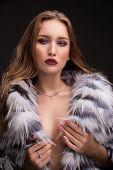 Gorgeous Blonde In Luxurioius Fur Coat Portrait poster
