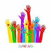 Hands With Heart, Lettering Spring. Colorful Caring Up Hands Hearts Vector Logo Design Element. Volu poster