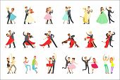 Professional Dancer Couple Dancing Tango, Waltz And Other Dances On Dancing Contest Dancefloor Set poster