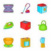 Home Appliances Icons Set. Cartoon Illustration Of 9 Home Appliances Icons For Web poster
