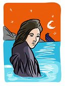 Refugees Problem.  Refugee Woman And A Sinking Boat In The Sea. poster