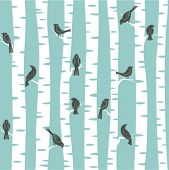 foto of raven  - seamless vector pattern with birds and trees - JPG