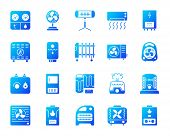 Hvac Silhouette Icons Set. Isolated On White Sign Kit Of Climatic Equipment. Fan Pictogram Collectio poster