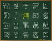 Hvac Chalk Board Icons Set. Outline Sign Kit Of Climatic Equipment. Fan Linear Icon Collection Inclu poster
