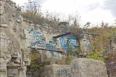 picture of spoiled brat  - Graffiti along the highway near a state park in Wisconsin - JPG
