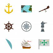Discovery Of America Icons Set. Flat Illustration Of 9 Discovery Of America Icons For Web poster