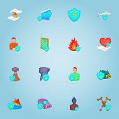 Accident Icons Set. Cartoon Illustration Of 16 Accident Icons For Web poster