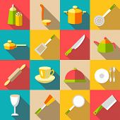 Tableware Items Icons Set. Flat Illustration Of 16 Tableware Items Icons For Web poster