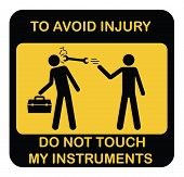 Funny Warning Vector Icon. Black Yellow Symbol Label With Two Schematic Workers And Instruments Box, poster