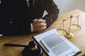 Lawyer Working On The Table In Office. Consultant Lawyer, Attorney, Court Judge, Concept. poster
