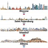 Cityscapes Of Moscow, Saint Petersburg, Istanbul And Athens. Flags Of Russia, Turkey And Greece. Vec poster