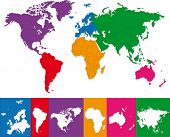 Colorful world map illustration. Abstract background.