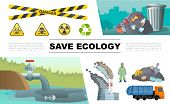 Flat Ecology Pollution Infographic Concept With Oil In Pond Waste Man In Protective Suit Factory Gar poster