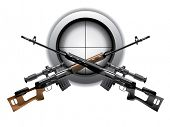 stock photo of uzi  - Sniper rifle vector - JPG