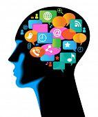 Постер, плакат: Средства массовой информации человека mobile The развитие глобальной связи Коммуникации в мобильных и Интернет ne