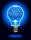 the concept of artificial intelligence.shining lamp with Cyborg  brain