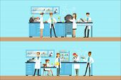 Chemists In The Chemical Research Laboratory Doing Experiments And Running Chemical Tests poster
