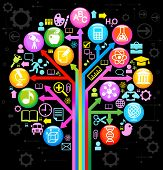 tree of knowledge. the concept of the learning sciences.the abstraction of the icons on the subject