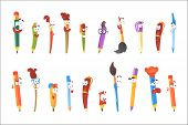 Smiling Pen, Pencils And Brushes, Set Of Animated Stationary Cartoon Characters Isolated Colorful St poster
