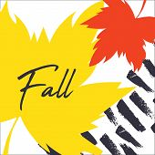 Autumn Leaves With Text On A Hand Drawn Background. Abstract Template. Bright Flat Fall Leaves. Post poster